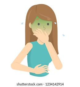 Woman suffer from nausea. Symptom of disease or pregnancy, problem with health. Sickness and illness. Isolated flat vector illustration