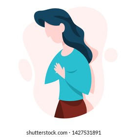 Woman suffer from the pain in the chest. Symptom of disease concept. Heart illness, arrhythmia. Vector illustration in cartoon style