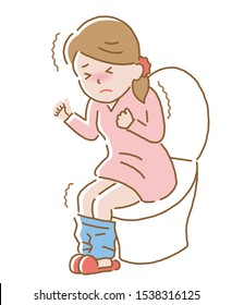 woman suffering from abdominal pain on toilet seat.  Diarrhea, constipation, and period pain symptoms. Health care concept