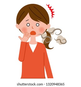 A woman suffering from halitosis
