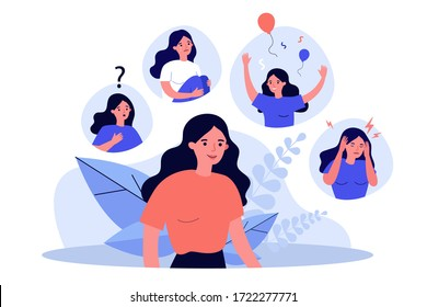 Woman suffering from mood changes. Female character feeling various emotions, celebrating, crying, getting distracted. Vector illustration for behavior disorder, stress, mental disease concept