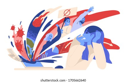 Woman suffering from panic attack after reading news online. Anxious posts in social media. Concept of fear of negative mass information in the internet. Vector illustration in flat cartoon style