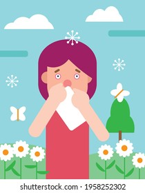 Woman suffering from spring allergy or hay fever blowing nose