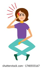 Woman suffers cartoon style illustration. Young woman with a headache, migraine or fever. The girl holds her hand on her temple, her eyes are closed, she is ill.Flat style woman is dizzy.