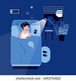 A woman suffers from insomnia lying in a bedroom at night with a discharged battery. Stress, depression, disorder, nightmares. Biological rhythms disturbance. Insomnia concept Flat vector illustration