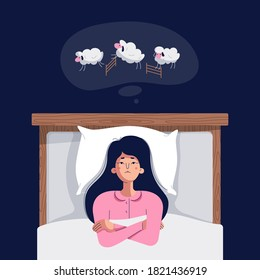 Woman suffers from insomnia. Unhappy, sad, tired girl lying in bed, trying to fall asleep and counting sheep. Sleep disorder vector illustration. Female character in flat cartoon style