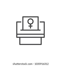 Woman suffrage outline icon. linear style sign for mobile concept and web design. Feminism simple line vector icon. Symbol, logo illustration. Pixel perfect vector graphics