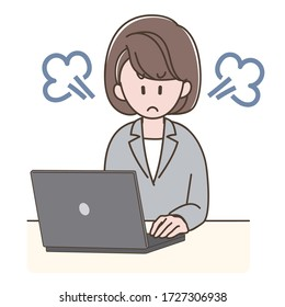 A woman in a suit is angry looking at the PC