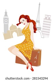 Woman with a suitcase . Illustration of a girl on a world trip