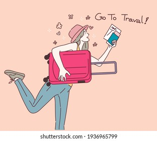 Woman with suitcase running to vacation travel, Travel concept. Hand drawn in thin line style, vector illustrations.