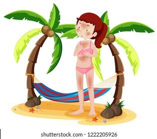 Woman sunburnt on beach illustration