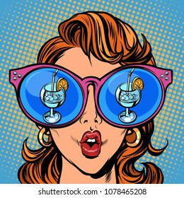 Woman with sunglasses. Cocktail ice and lemon in the reflection. Comic cartoon pop art retro illustration vector kitsch drawing
