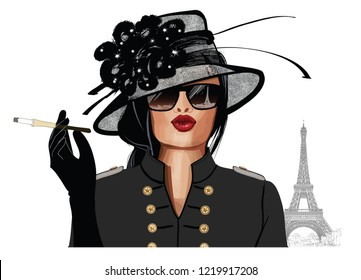 Woman with sunglasses and hat - vector illustration