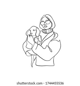 Woman in sunglasses holds puppy in her arms. Linear female beauty with simple face drawn by one continuous line. Fashionable glamour girl with dog. Adorable pet and her owner.