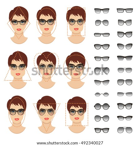 5af774882df Woman Sunglasses Shapes Different Women Face Stock Vector (Royalty ...