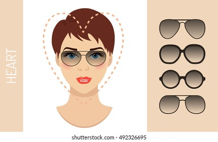 Woman sunglasses shapes for heart women face type. Various forms of summer glasses for heart face. Fashion collection. Vector set.