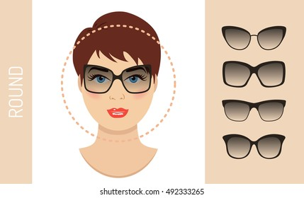 Woman sunglasses shapes for round women face type. Various forms of summer glasses for round face. Fashion collection. Vector set.