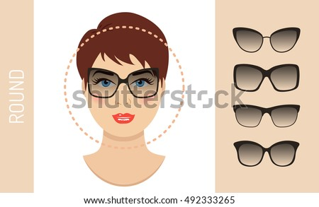 b39298f37f Woman sunglasses shapes for round women face type. Various forms of summer  glasses for round face. Fashion collection. Vector set. - Vector