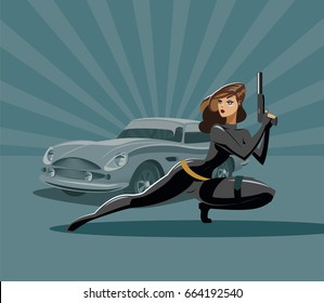 The woman super agent. In a black with a gun. Luxury car. Vector illustration