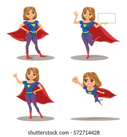 Woman super hero set, character in different postures (standing, presenting copy space and showing OK sign, with thumb up and flying). Vector illustration isolated on white.