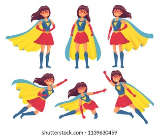 Woman superhero character. Wonder girl in superwoman costume with cloak female leadership pose. Superheroes flying hair super action hero posing character mantle vector isolated icon illustration set