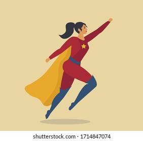 Woman superhero. Girl dressed as a hero, super woman Vector illustration