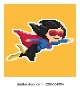 woman superhero in pixel art