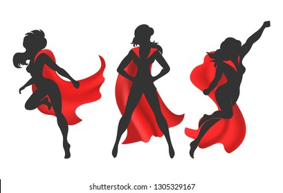 Woman superhero silhouette. Female power concept isolated on white background, vector comic warrior super hero girl in red cloak