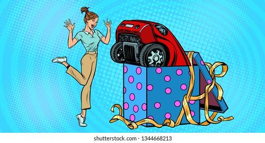 woman surprise car gift. Pop art retro vector illustration kitsch vintage