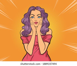 Woman surprise holds cheeks by hand .Beautiful girl with curly hair pointing to looking right . Presenting your product Pop art retro comic book