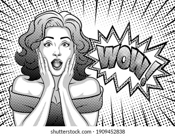 A woman with a surprised face. Wow, pop art face. Woman with curly hair. Black white illustration in the style of pop art, retro, comic.