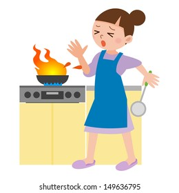 Woman surprised to flame