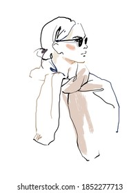 Woman with a sweater around her neck. Fashion sketch vector illustration
