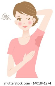 woman sweating under armpit. hygiene and health care concept