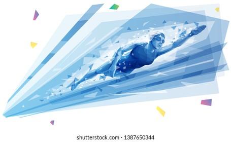 Woman swimming backstroke at the pool