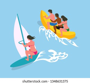 Woman swimming on surfboard with canvas in blue sea waters. People ride on banana boat. Vector cartoon character in bikini suit on summer rest, back view