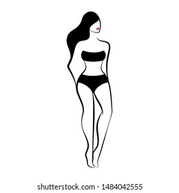 Woman in a swimsuit or lingerie. Front view.Isolated vector illustration