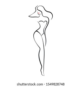 Woman in a swimsuit or lingerie. Stylization of a female figure. Isolated vector illustration