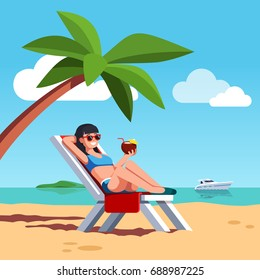Woman in swimsuit sunbathing lying on lounger at sea or ocean beach. Beautiful girl drinking coconut cocktail relaxing under palm tree. Summer holiday or luxury vacation. Flat vector illustration.