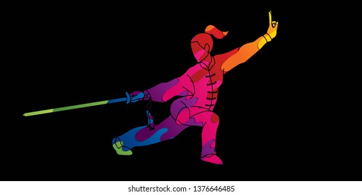 Woman with sword action, Kung Fu pose graphic vector.