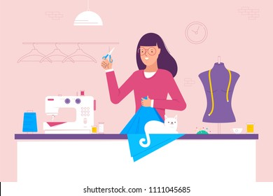 Woman tailor sewing a red dress, craft hobby or profession colorful character vector Illustration
