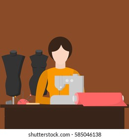 Woman tailor. Sewing workshop equipment. Flat shop design elements. Tailoring industry dressmaking tools icons. Fashion designer sew items vector illustration