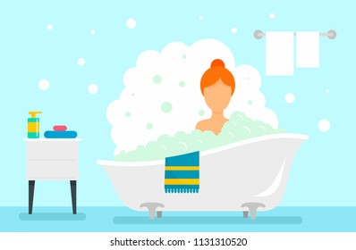 Woman take bath concept background. Flat illustration of woman take bath vector concept background for web design