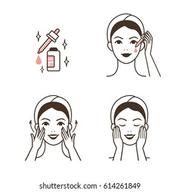 Woman take care about face. Steps how to apply facial serum. Vector isolated illustrations set.