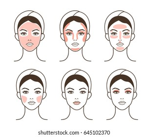 Woman take care about face. Steps how to apply make face make-up. Vector isolated illustrations set.