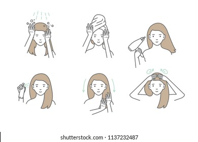 Woman take care about her hair. Steps how to apply hair mask. Vector isolated illustrations set.
