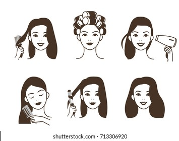 Woman take care about her hair. Different styling procedures. Vector illustration.