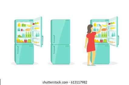 The woman takes in the fridge. Refrigerator. Products household appliances