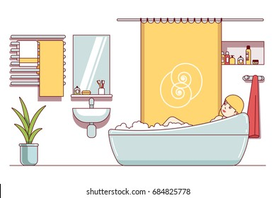 Woman taking bath in bathroom. Enjoying hot relaxing tub. Home shower room interior with bathtub, sink, mirror, towels dryer, curtain. Flat thin line vector illustration isolated on white background.