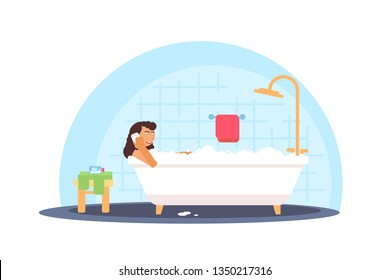 Woman taking foam bath vector illustration. Young lady lying in bathtub talking on phone cartoon character. Body hygiene, health. Bathroom interior flat color drawing. Domestic spa, relaxation